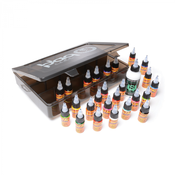 Eternal Ink Travel Kit - 25x 15ml (1/2oz) Inks + 1x 120ml (4oz) Stencil Stuff in Sullen Clothing Blaq Paq Case
