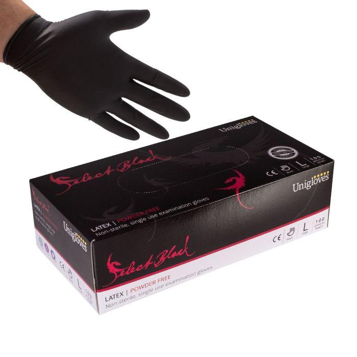 Box of 100 Unigloves Select Black Powder Free Latex Gloves