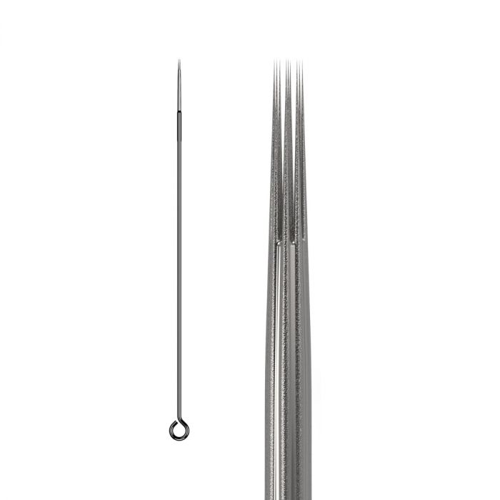 Box of 50 KWADRON Needles 0.35MM LONG TAPER BUGPIN TEXTURED - Round Liner
